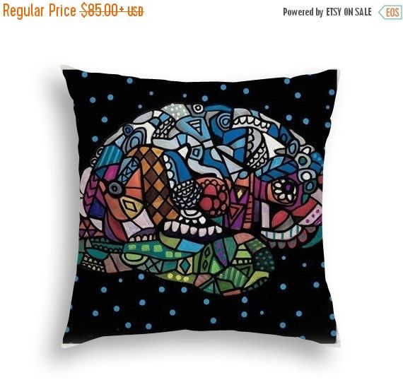50% Off Today- Human Brain Surreal Head Art Pillow - - Modern Abstract Folk Art by Heather Galler Medical Science Anatomy