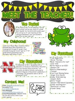 Meet the Teacher Newsletter perfect for open house! Frog Theme- Green and Yellow!!