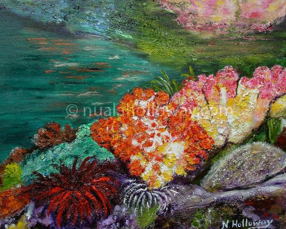 """Faoi Scáth Na hAille"" by Nuala Holloway - Oil and Sand on Canvas ~ Part of Nuala's ""Coral Collection"" bringing attention to the beauty of this important and endangered Oceanic eco-system #Coral #IrishArt #SeaLife #Ecosystem"