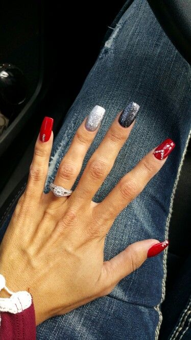 Coffin nails. Red black and silver glitter.