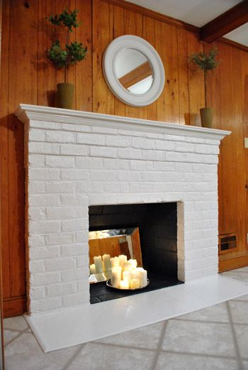 Painted Wood Paneling Woot It S Done Brick Fireplace