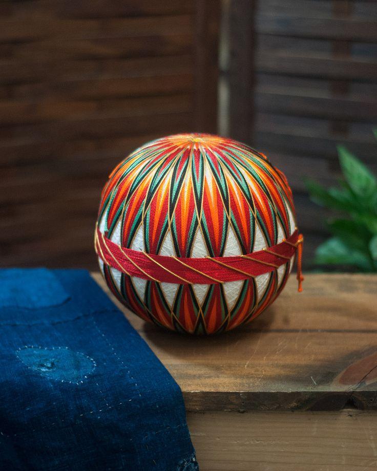 Vintage Temari Ball Medium, Orange