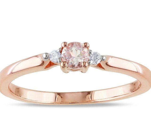 38a17418f51f Diseños minimalistas Anillo de compromiso en oro rosado 18k Morganita  durazno corte redondo 4mm 2 diamantes …