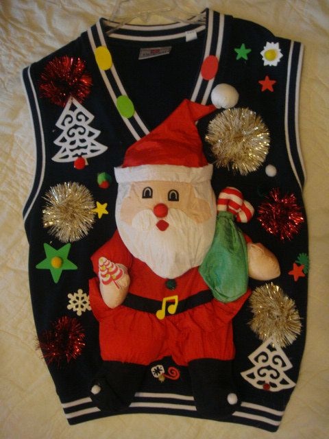 deb's tacky gold reindeer man's blue vest ugly christmas sweater santa funny med large by keriblue4 on Etsy