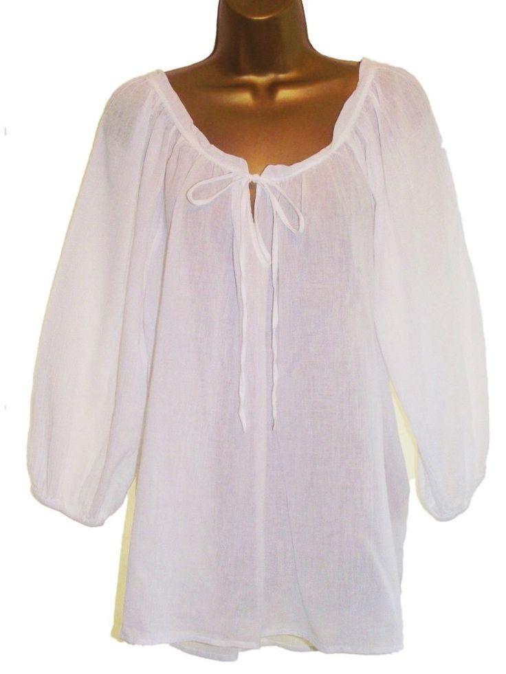 Burgundy White Black Pink Cotton Boho Gypsy Top Smock Tunic Kaftan Blouse (18, White)