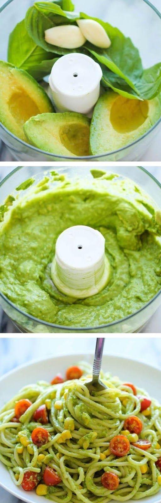 Ricette originali in una foto: pasta al pesto di avocado