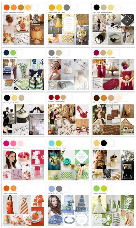 Color Palettes for Weddings, Parties and more! http://www.theperfectpalette.com/p/color-palettes_17.html