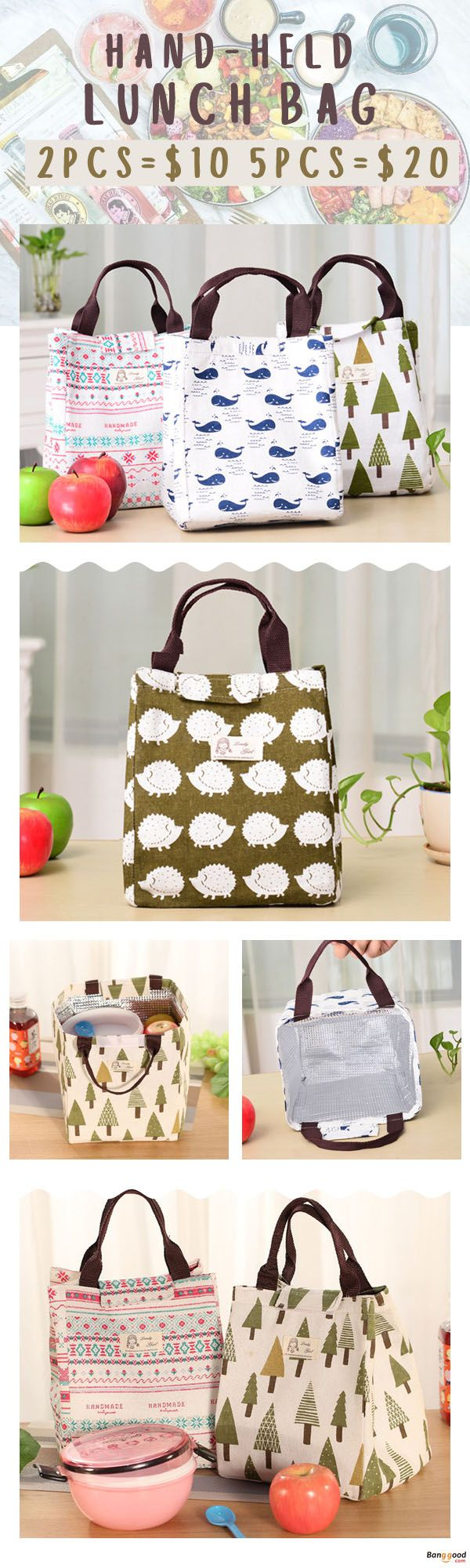 US$5.98 + Free Shipping. 2Pcs=$10 & 5Pcs=$20. Hand-held lunch bag. Bring your own meal to office or school, health and safety. Shop at banggood.