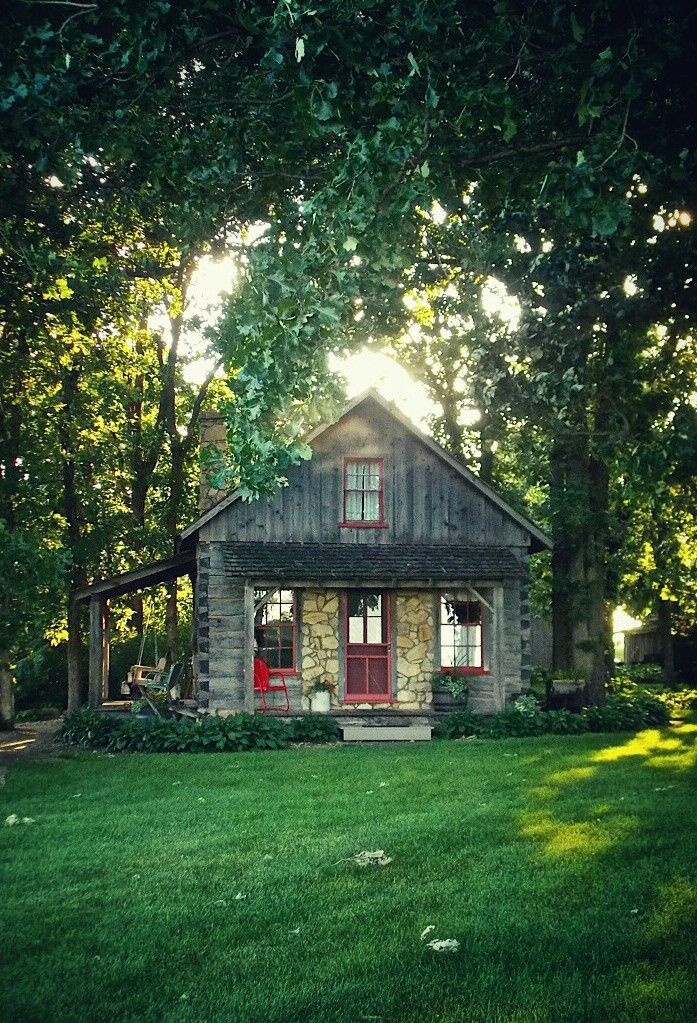 """Though she be but little, she is fierce!"" : Photo     like the side porch with swing . . cute little cabin"