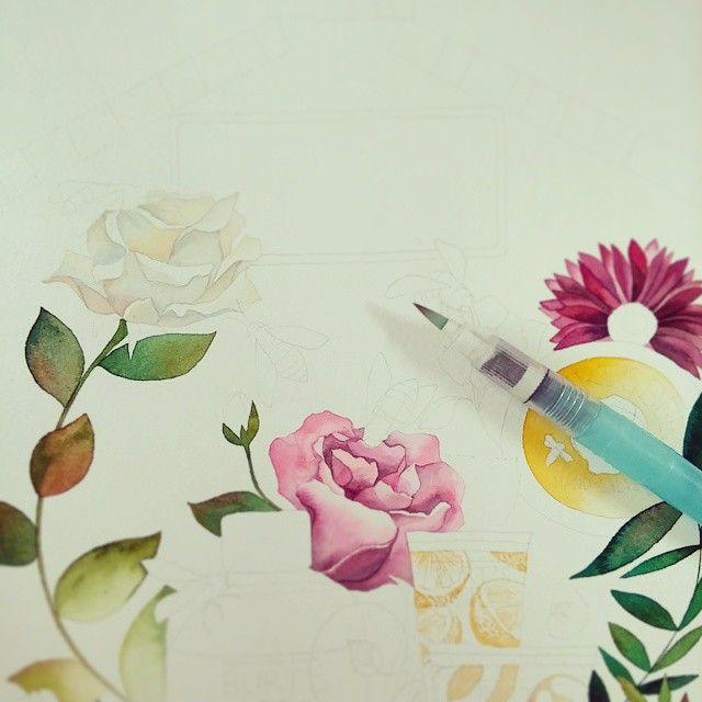 오랜만의 #꽃  #illustration #일러스트 #flower #watercolor #쿠레타케 #waterbrush #수채화