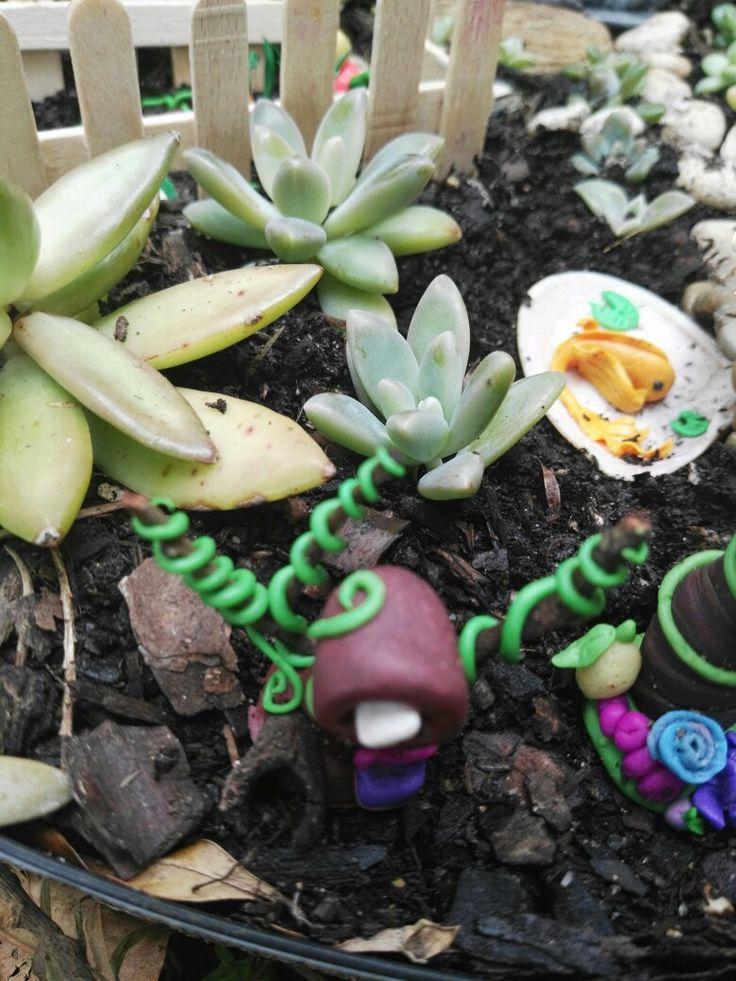 Letter box in the fairy garden, made of fimo.