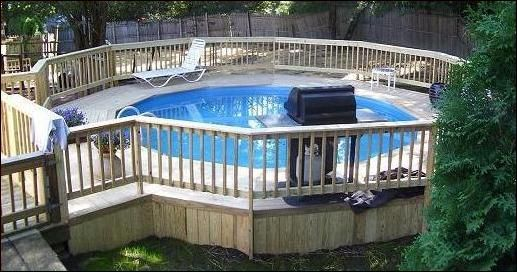 Swimming pool luxury design of above ground swimming pool with rounded shape and complete with - Luxury above ground pools ...