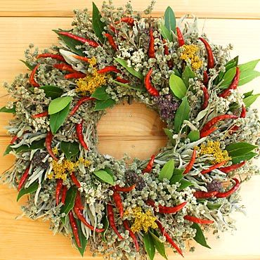 Chili Herb Wreath....hoping my chili peppers look this good so I can make something like this for the kitchen!