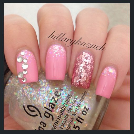 Pink Glitter Rhinestone Accent Nails by Instagram's @Hillary Kozuch, Sparkly Nail Art, OPI Pink Friday, Essie Marathin, Essie A Cut Above, China Glaze Snowglobe, Sally Gelous, Pretty Nail Art, Nail It! Magazine