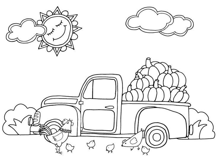 Őszi színező gyerekeknek, jó sok tökkel! Autumn in the farm, coloring page.