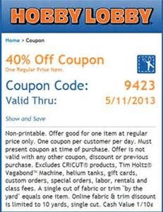 Hobby Lobby Coupon 40% Off - Bing images