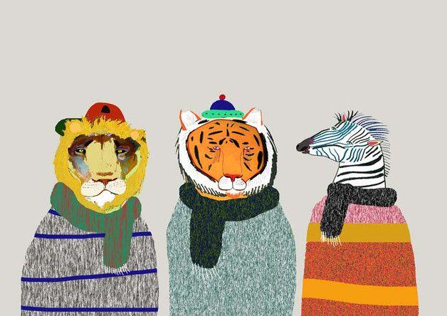Winter Animals. Illustration art prints.