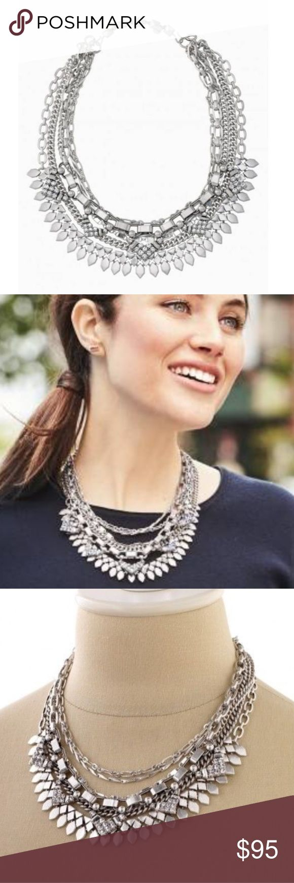 "Stella & Dot Silver Sutton Necklace There are five ways to wear statement necklace: long and loose for a laid-back look, clasped into a statement when you're feeling bold, plus or minus the sparkle strand, or just the sparkle when you're in the mood to shine. Mix of vintage and shiny silver plating. This one is new without tags, has been worn only once and is in perfect condition.   15"" with 3"" extender for shortest necklace. 31.5""longest length.  Spring clasp closure with hook extender…"