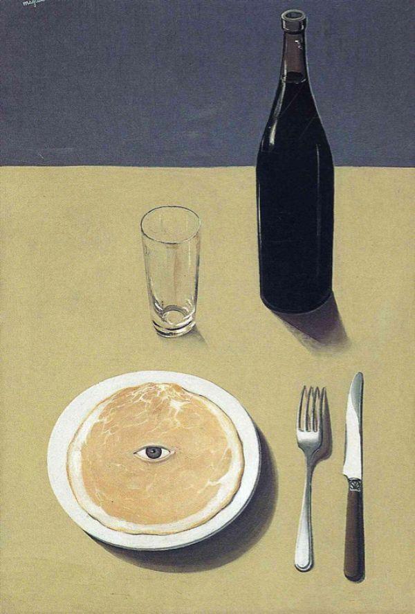 Reproduction de Magritte, Portrait. Tableau peint à la main dans nos ateliers. Peinture à l'huile sur toile.