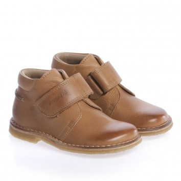 Bisgaard Brown Leather Velcro Ankle Boots at Childrensalon.com