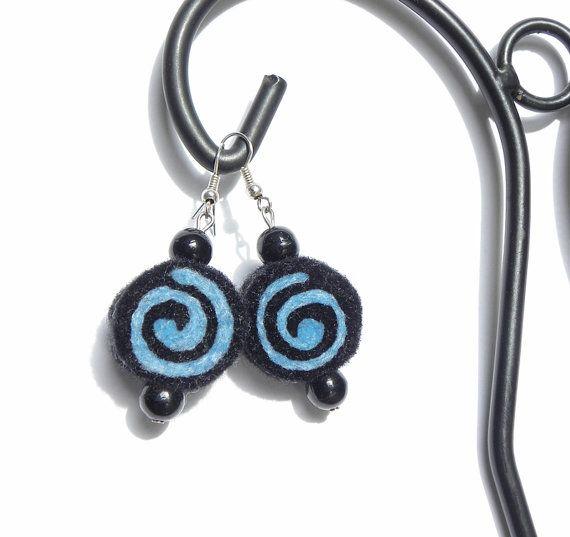 OOAK Earrings unique felted rolls no 47, felt earrings, very light, unique pattern earrings, gift for her, black and blue, dark jewelry