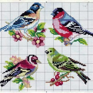Etamin Şablonları Kuş Desenleri 99