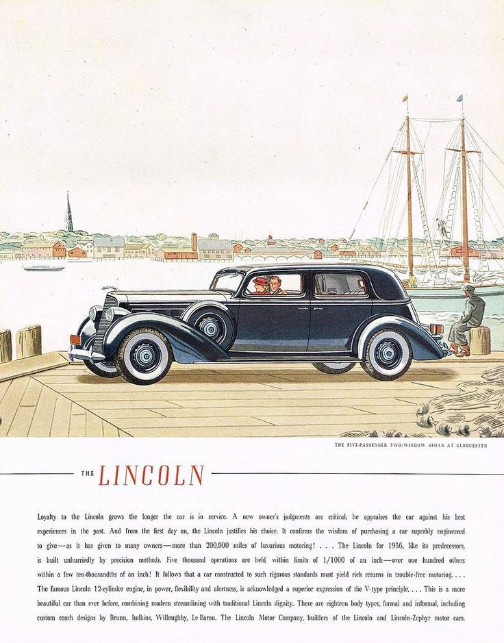 1936 BIG Vintage Lincoln Sedan Car Automobile Gloucester Art Print Ad