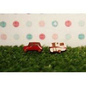 Car and Caravan Earrings (Red)