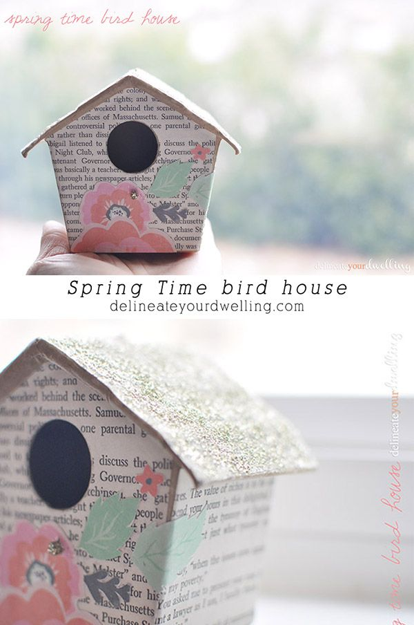 Spring is in the air and so are the robins! Build them a home by exercising your crafting skills with this DIY outdoor décor springtime birdhouse. Cut old book pages to paste to the house instead of a coat of paint. Be sure it's a sweet story of spring sunshine and happiness!