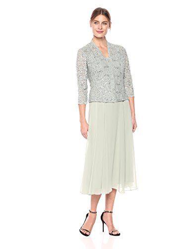 5ea3a614cb7f9 Alex Evenings Women's Two-Piece Tea Length Mock Jacket Dress, Ice Sage, 12    Tea length, Stretch lace and Sage
