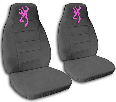 cute CAR SEAT COVERS Ford F 150 VELOUR charcoal gray with pink
