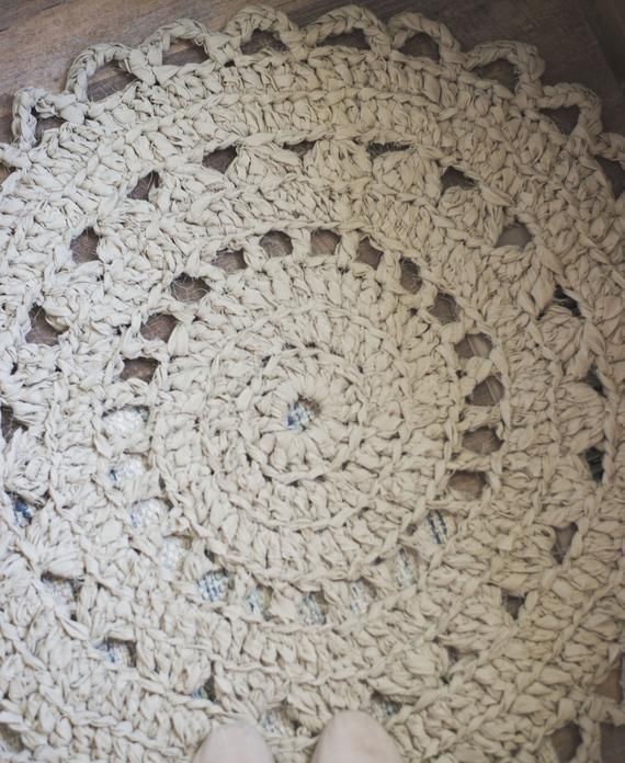 Pdf Crochet Pattern For Doily Rag Rug Made From Bed Sheets Rug Making Rugs Rug Yarn