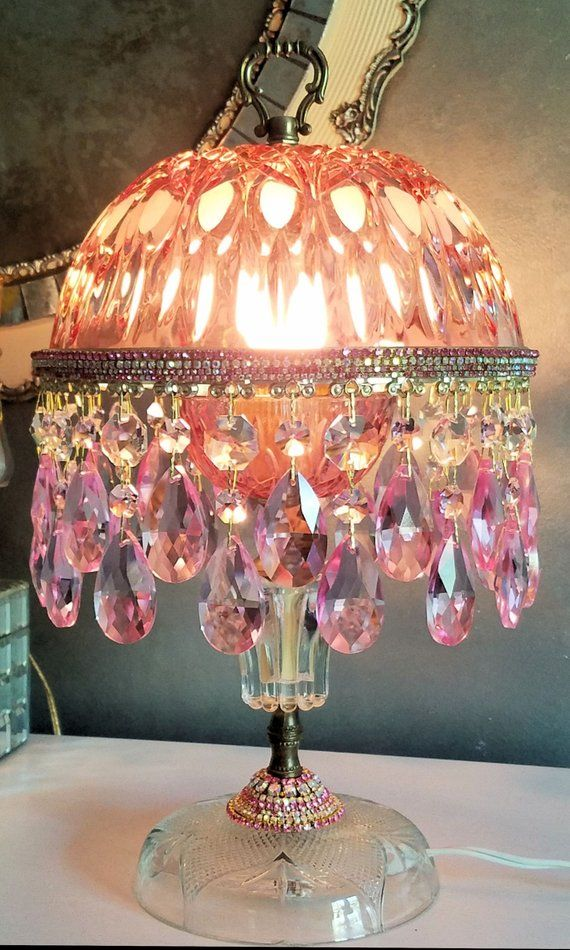 Cranberry Lamp Pink Crystal Lamp Vintage Cranberry Lamp Crystal