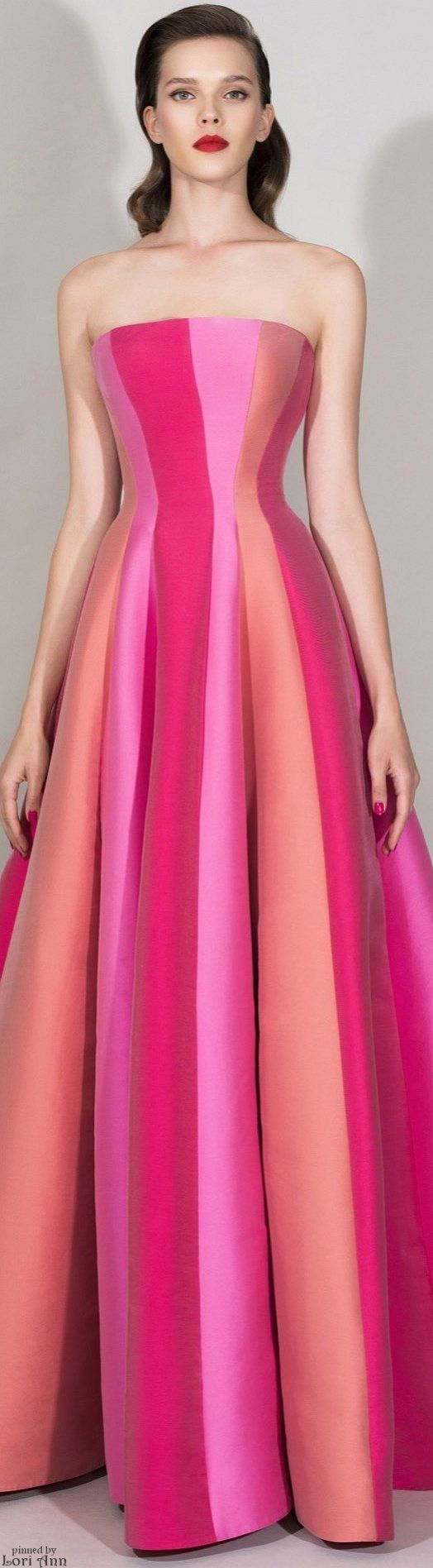 Zuhair Murad Resort 2016 - not sure who would wear this at a resort - looks like a glamorous circus tent - colorblock gown