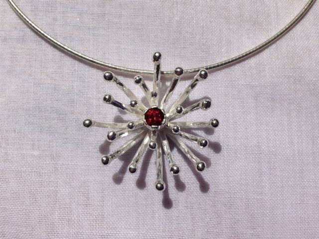 Pohutukawa pendant: sterling silver/ red garnet from Alison Blain