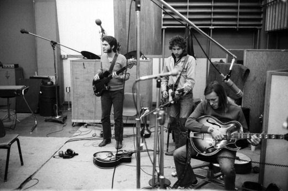 Bassist Jack Barber Bob Dylan and Texas musician Doug Sahm recording Doug Sahm's 1973 album 'Doug Sahm and Band' in the studios of Atlantic Records...