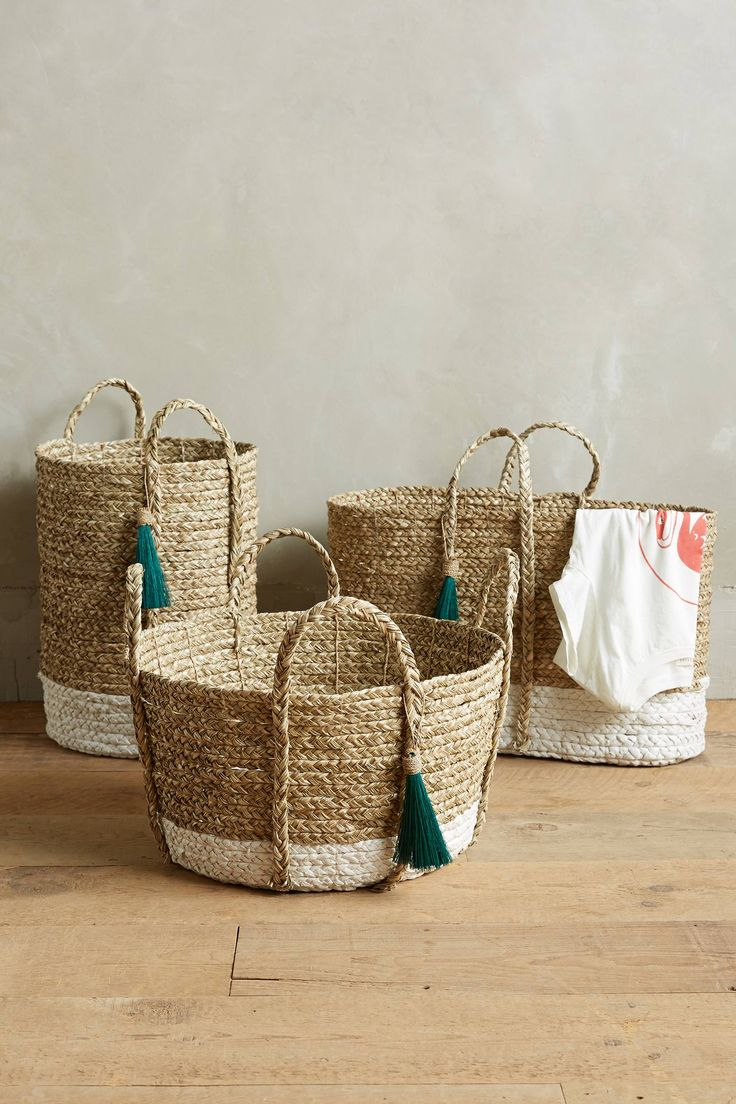 While natural woven baskets have become so popular some have found ways to make them stand out a little by adding dip dye and / or tassels. (AMC)