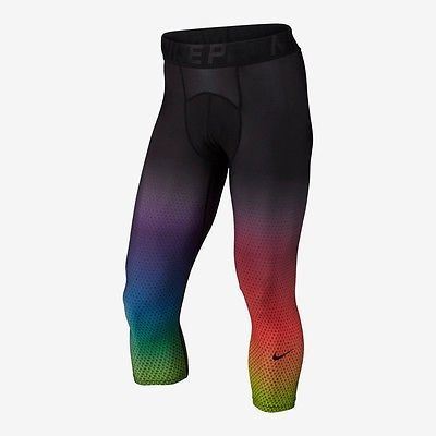 NIke Men's Pro Cool Be True 3/4 Length Rainbow LGBT Training Tights 840344 010
