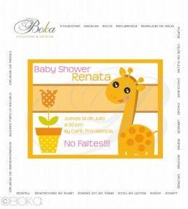 Invitacion baby shower, niña, #girafa #babyshower baby shower invitation #girl #niña #bebe www.bo-kasociales.com