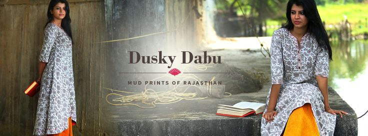 A collection of kurtas in Dabu-printed fabrics with eye-catching embroidery and detailing that highlight the beauty of this ancient mud-resist printing. Dusky dabu is out in our stores. SHOP NOW at http://bit.ly/1NSSnC5
