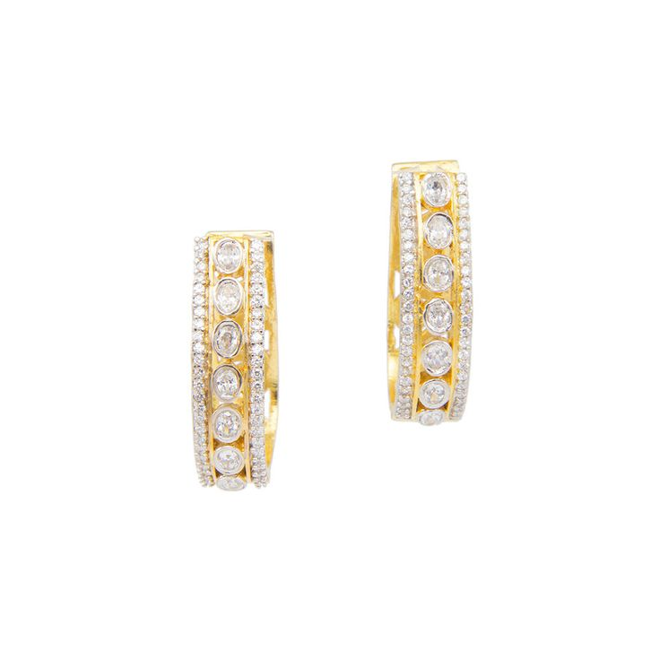 Golden U-Shaped Earrings with Round Stones in center and white crystal detailing at the edges.   – LuxShoppe.com