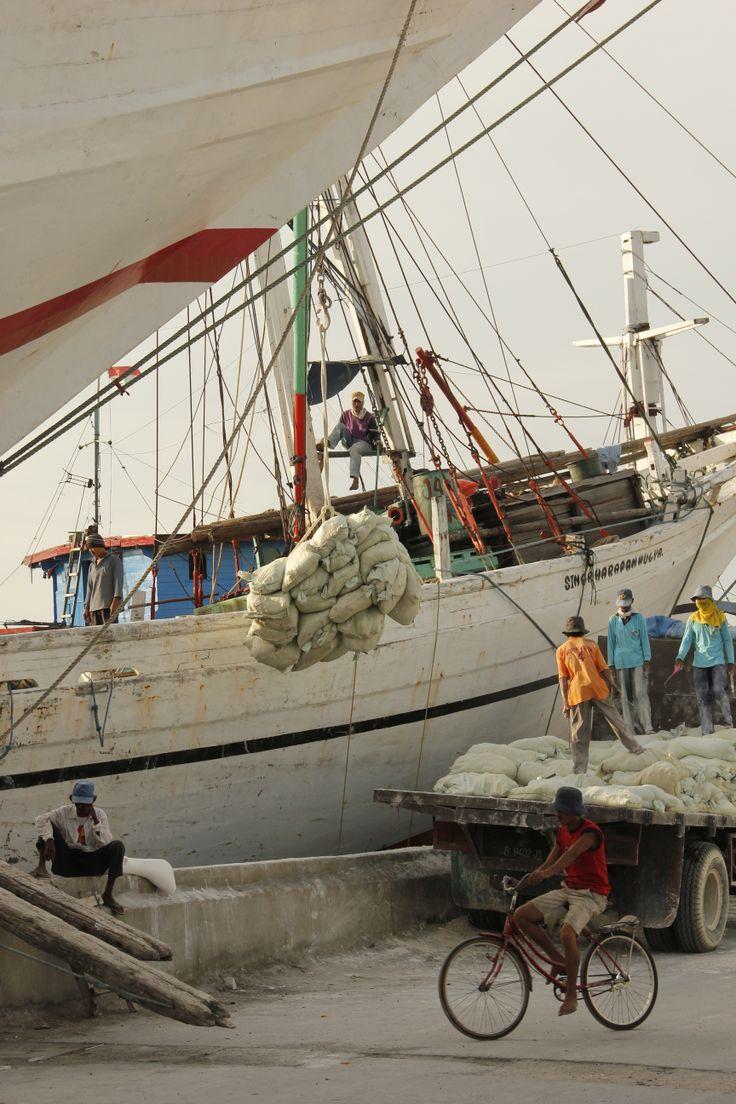 Dock workers near Marina Batavia, Jakarta, Indonesia
