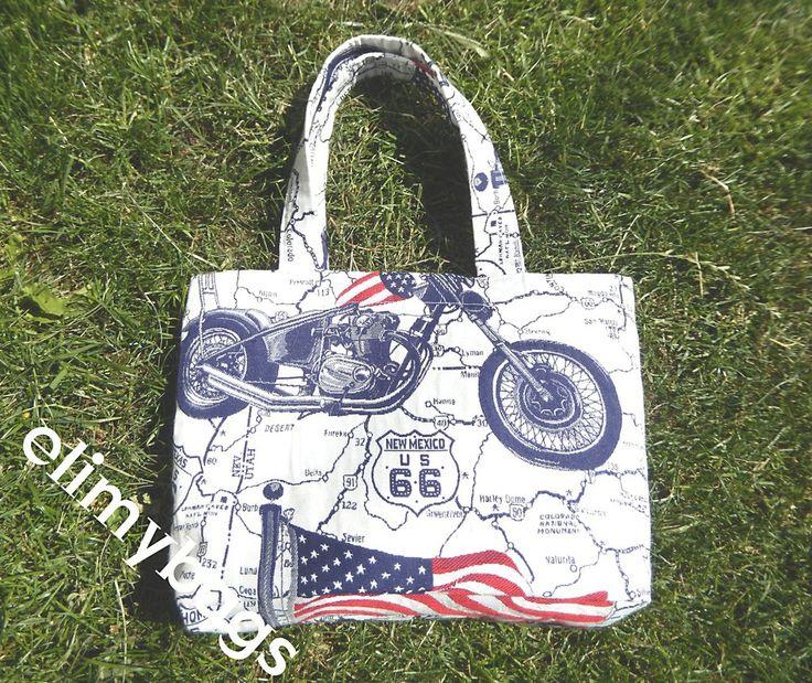 Borsa bandiera americana e moto fatta a mano♥, by Elimybags, 25,00 € su misshobby.com