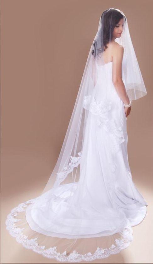 Chapel Length Encasement Drop Wedding Veil With Alencon Lace