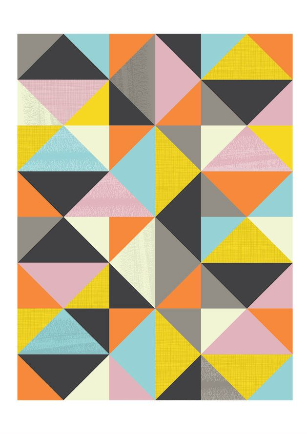 Abstract print, Geometric art, Mid Century modern, Modern art, Scanidnavian design, wall decor,  A3. via Etsy.