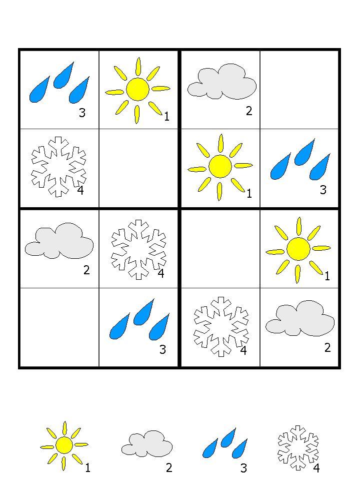 hava durumları temalı sudoku etkinliği