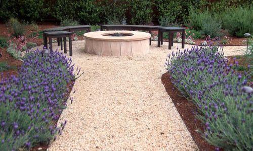 Garden Ideas, Landscaping ideas, pathway, walkway, Mediterranean Path, Verdance Fine Garden Design, Lavender,gravel path,fire pit, fire pit area, dining patio