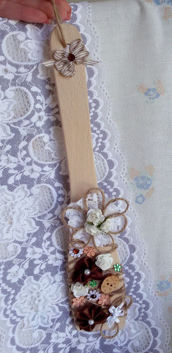 Decorative wooden spatula wooden spatula kitchen by Rocreanique on Etsy