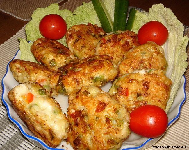 Курино-кабачковые котлетки, как пирожки)