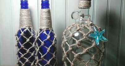 empty bottle transformed to beach decor